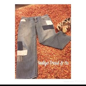Unique Indigo & Thread Co. Crop Patch Jeans